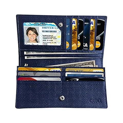 Qubel Women's RFID Blocking Large Capacity Luxury Genuine Leather Clutch Wallet Card Holder Ladies Purse (NAVY) by Qubel