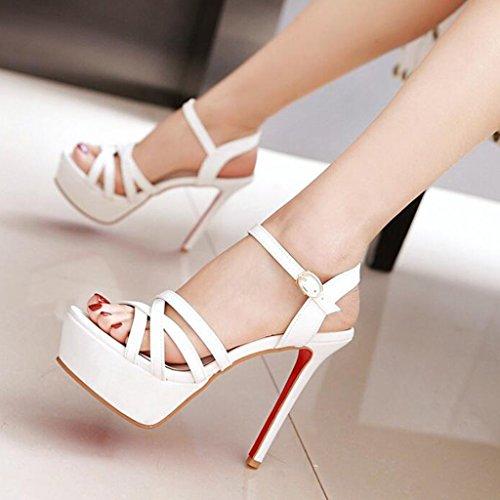 Tamaño Verano Color Patrón Sandalias De UK6 Talón De Abierta EU39 Blanco Delgado Zapatos Mujer Punta CN39 Tacones Sintético Cuero Altos F4Frfxaqw