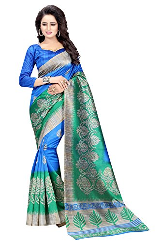 Indian Cottage Women's Fancy Ethnic Printed Green Blue Mysore Art Silk Saree with Beautiful motif 5.50 Mtr Green-Blue