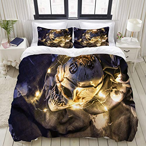 TARTINY Duvet Cover Set, Helloween Skull in The Dark with a Garland, Custom 3 Piece Bedding Set with 2 Pillow Shams, Twin Size