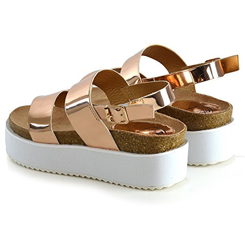 Rosa Le GLAM Tacco Caviglia Scarpe A Cinturino Donna Piattaforma Alla Metallizzato ESSEX Oro Signore Sandali Zeppa Awq6x6