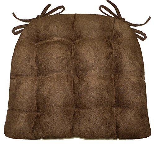 Barnett Products Dining Chair Pad with Ties - Microsuede Coffee Bean Brown Micro Fiber Ultra Suede - Reversible, Latex Foam Filled Cushion, Machine Washable (Coffee Bean Brown, Extra-Large)
