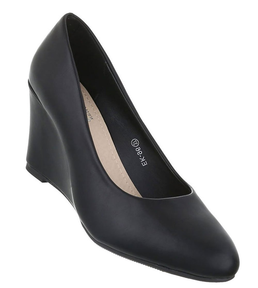 Schuhcity24 Klassische Pumps | Damen Keilpumps | Keilabsatz Schuhe | High Heels Keilabsatz | Bequeme Abendschuhe | Leder-Optik Damenschuhe | Wedges Hoch37 EU|Modell Nr1 Schwarz