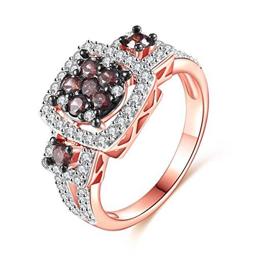 Elegant Ring - Jiangyue Women Rings Coffee Cubic Zirconia Rhodium Rose Gold Black Plated Ring Party Wedding Jewelry Size 6
