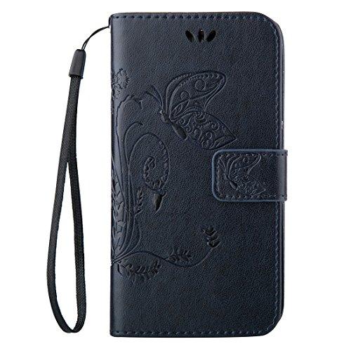 Fashion & personality Para Samsung Galaxy A7 (2016) / A710 Impresión de la textura del caballo loco horizontal Caja del cuero del tirón con el sostenedor y ranuras para tarjeta y carpeta y acollador,  Dark Blue
