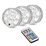 MYHH-LITES Submersible Led Lights, RGB Multi Color Remote Controlled, Battery Powered 10-LEDs Underwater Light for Aquarium Swimming Pool Vase Base Fountain Party Weeding Christmas Halloween-3 Pack
