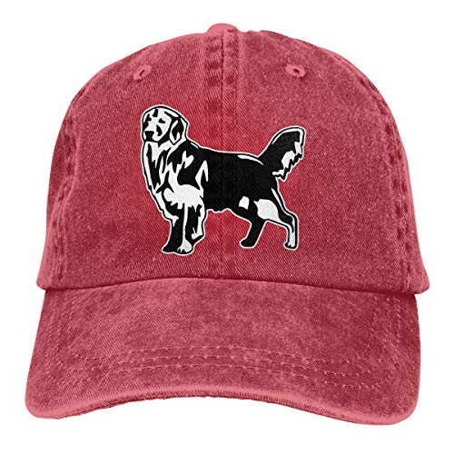 2 Pack Golden Retriever Dog Adjustable Cotton Denim Hat Baseball Cap for Women and Men Red