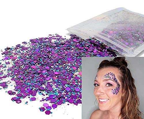 10 Grams ✮ Purple & Blue Cosmetic Glitter ✮ Festival Rave Beauty Makeup Face Body Nail ✮