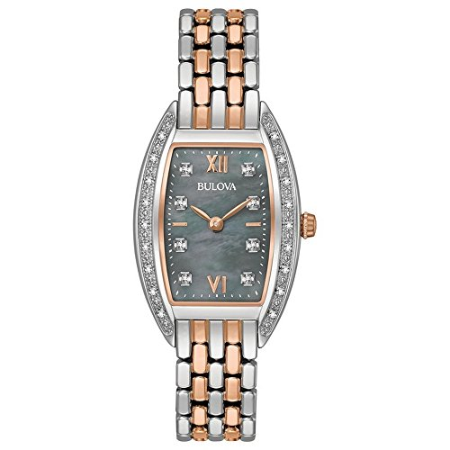 Bulova 98R232 26 Diamonds Black Mother of Pearl Dial Two Tone Womens Watch