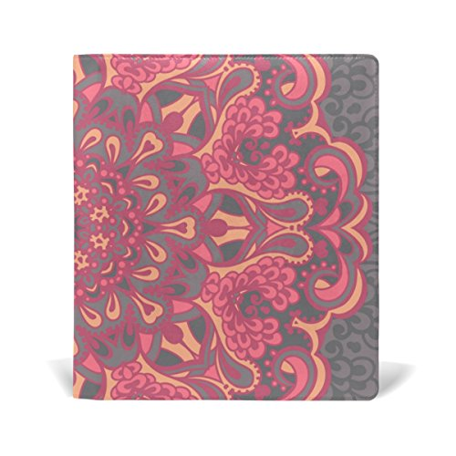 Top AURELIOR Flower Mandala Pattern Stretchable PU Leather Book Cover 9 x 11 Inches Fits for School Hardcover Textbooks