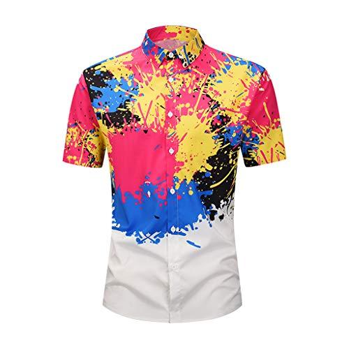 Men's 3D New Summer Stripe Printed Short-Sleeved Shirt Fashion Blouse Top