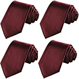 KissTies 4PCS Burgundy Ties Solid Color Tie Wedding Neckties + 1 Magnetic Box