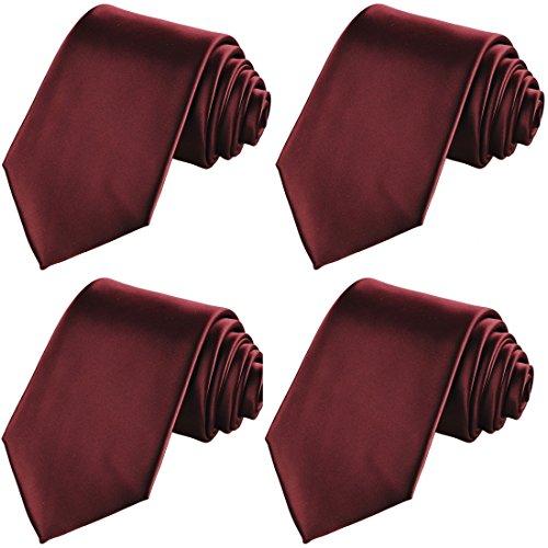 KissTies 4PCS Burgundy Ties Solid Color Tie Wedding Neckties + 1 Magnetic Box by KissTies
