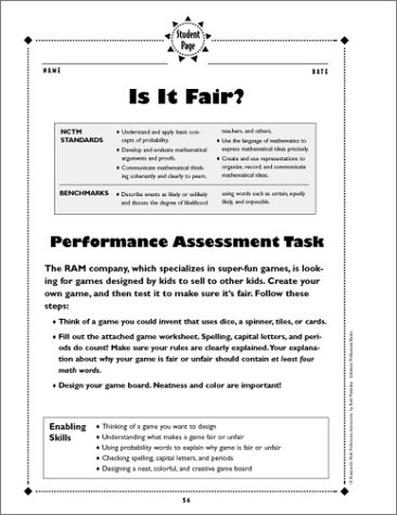 Counting Number worksheets maths probability worksheets : Amazon.com: 10 Math Performance Assessments: Teacher-Tested ...