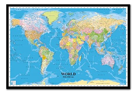 Amazon world political map poster magnetic notice board black world political map poster magnetic notice board black framed 965 x 66 cms approx gumiabroncs Gallery