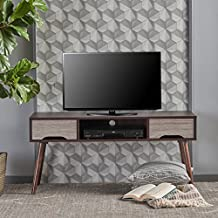 Florie Mid Century Modern Finished Fiberboard Entertainment Center (Wenge/Grey Oak)