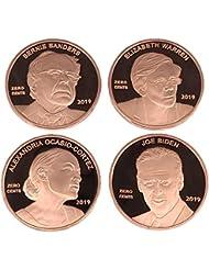 Aizics Mint Set of 4 Zero Cents Pennies/Alexandria Ocasio-Cortez AOC, Joe Biden, Bernie Sanders & Elizabeth Warren   Democrat Novelty Coin Token   Copper Plated Large Size 30mm x 2mm   MAGA