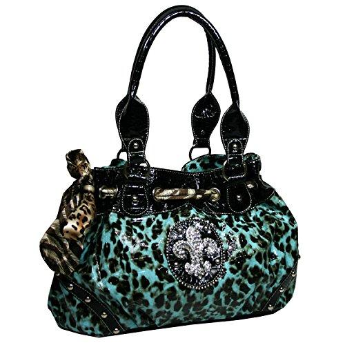 Western Rhinestone Fleur De Lis Studded Purse Bling Handbag - Turquoise Leopard