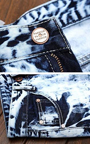 Denim Distrutti Stile Moda Dritti Semplice Hellblau Pantaloni Vintage Slim Da Uomo Gamba Strappati Jeans Stretch Fit PHqz60