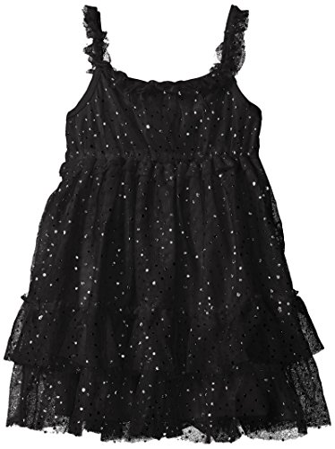 The Children's Place Little Girls and Toddler Sparkle Dot Mesh Dress, Black, 3T (Kids Black Dresses)