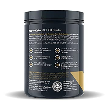 NOW KETO Keto MCTs Oil Powder from Coconuts Low Carb High Fat Medium Chain Triglyceride Ketogenic Diet Supplement Boosts Ketones for Keto Diet. Great Keto Coffee Creamer. Salted Caramel