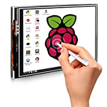 Touch Screen for Raspberry Pi 3 Kit,Quimat 3.5 inch 320x480 Resolution TFT LCD Display with Protective Case + 3 x Heat Sinks+ Touch Pen for Raspberry Pi 3 Model B, Pi 2 Model B & Pi Model B