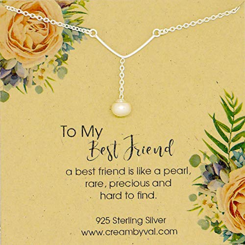 Best Friend Is Like Pearl Lariat Y Sterling Silver Necklace - 17.5'' Length