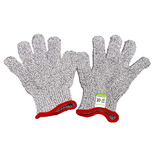 Cut Resistant Gloves for Kids - Food Grade Safety Cut Gloves for Meal Prep Crafts and Outdoors - EN388 Level 5 Protection from Knives Scissors Vegetable Peelers - Fits Both Hands, Grey
