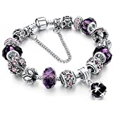 Arts & Crafts : Morenitor[TM] Beaded Bracelet Handmade Carved Sterling Silver Plated Snake Chain Charm Bracelet for Women 19.5cm (Purple)