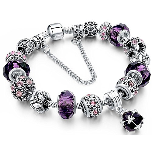 Morenitor Beaded Bracelet Handmade Carved Sterling Silver Plated Snake Chain Charm Bracelet for Women 19.5cm (Purple)