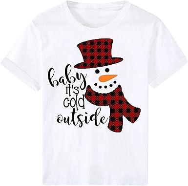 Camiseta de Mujer de Navidad de Manga Corta Camisetas Casuales O-Cuello Salvaje Ropa para Mujer con Estampade Suéter Sudadera Jersey Tops Fannyfuny: Amazon.es: Ropa y accesorios