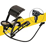 Bicycle Floor Pump Foot Pedal with Gauge & Two Valve Head of US and French, 200 Psi,TopBox MiniPortable High-Pressure for Car /Bike/ Basketball-Quick Release