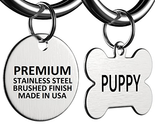 Pizza Money LLC Premium Stainless Steel Pet ID Tag Dog and Cat Personalized | MADE IN USA, Brushed Stainless Steel
