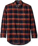 Pendleton Men's Long Sleeve Button Front Corduroy Wayne Shirt, Navy/Rust Plaid, LG