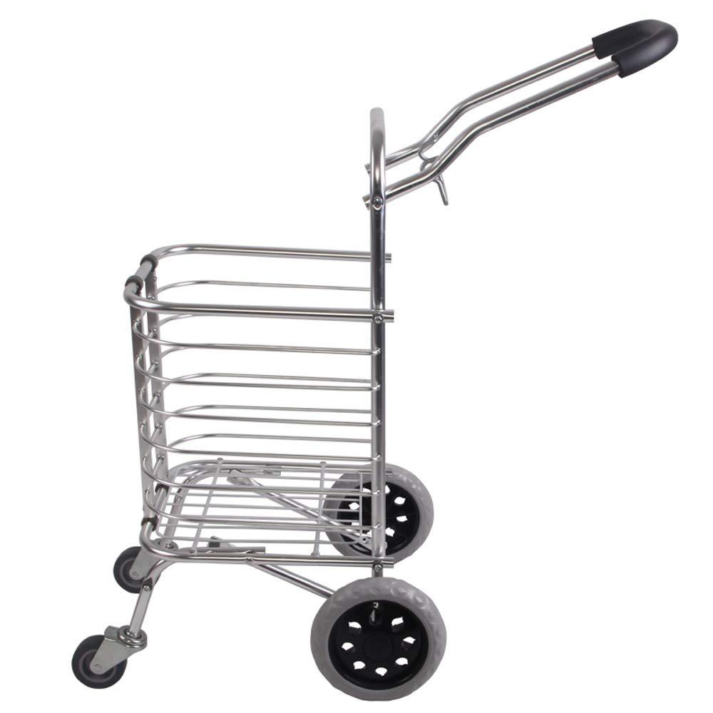 LI MING SHOP 携帯用折る2つの円形の食料品の買い物のカートのアルミニウムバスケットのカートのトレーラーのトロリー B07QB2V24G