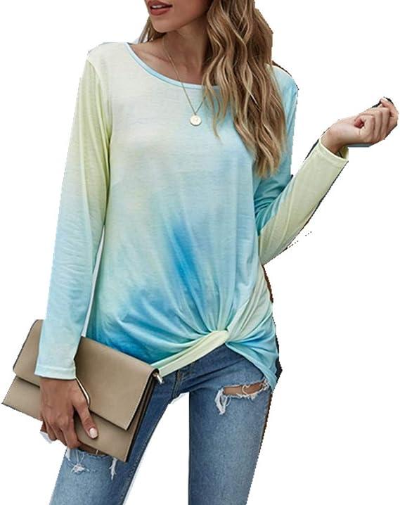 x8jdieu3 Jersey De OtoñO E Invierno para Mujer Cuello Redondo Suelta Gradiente Tie-Dye Gradiente Urbano Casual Manga Larga Cuello Redondo Camiseta Retorcida Camiseta: Amazon.es: Ropa y accesorios