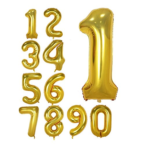40 Inch Gold Foil Balloons Number 1, Number Balloons for Birthday Anniversary Party (Gold 1)]()