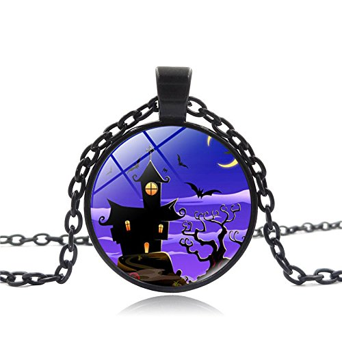 Necklace, Hatop Vintage Happy Halloween Glass Chain Pendant Necklace (Cheap Diy Halloween Costumes For Guys)