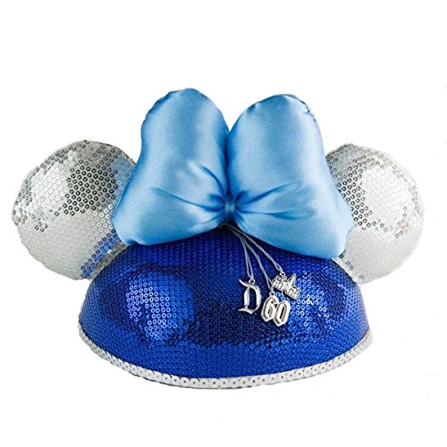Celebration Sequin Hat (Disneyland 60th Anniversary Sequins Minnie Ear Hat with Charm)