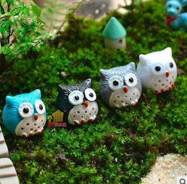 Miss.AJ 20-Piece Miniature Fairy Garden Owl Ornament Dollhouse Plant Pot DIY Decor Home Decoration