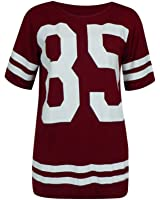 Womens Oversize 85 Baseball Top Baggy American Football T-Shirt Jersey Wine S/M