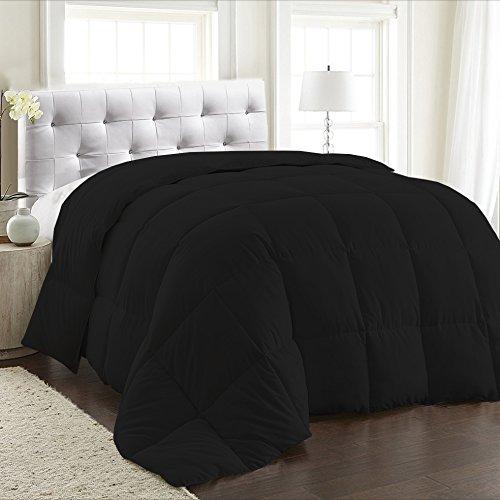 600TC 100% Egyptian Cotton Black 1 PC Comforter 300 GSM, Full/Queen