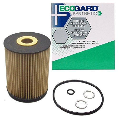 (ECOGARD S5545 Cartridge Engine Oil Filter for Synthetic Oil - Premium Replacement Fits Volkswagen Touareg, Jetta, Golf, Passat, EuroVan / Audi Q7, A8 Quattro, S8 / Porsche Cayenne)