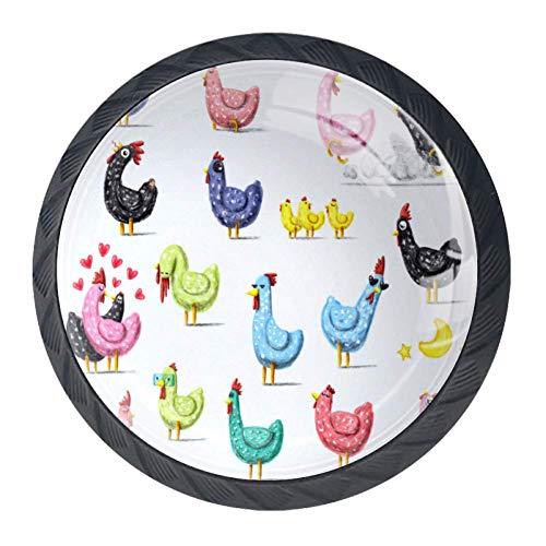DJROW Cute Chicken Pattern 4 Pcs Cabinet Knobs 30mm Drawer Kitchen Cabinets Dresser Cupboard Wardrobe Unique Pulls -