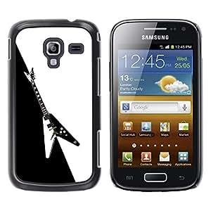Caucho caso de Shell duro de la cubierta de accesorios de protección BY RAYDREAMMM - Samsung Galaxy Ace 2 I8160 Ace II X S7560M - Guitar Heavy Metal Music Rock Black White