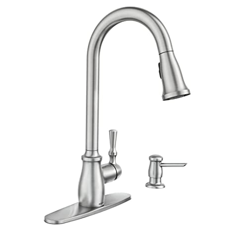 Moen Fieldstone 87808SRS Kitchen Faucet w Soap Dispenser ...