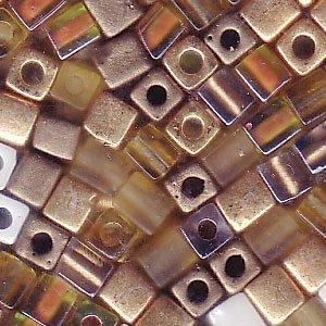 Honey 4mm - Miyuki 4mm Glass Cube Beads Color Mix Honey Butter #22 10 Grams