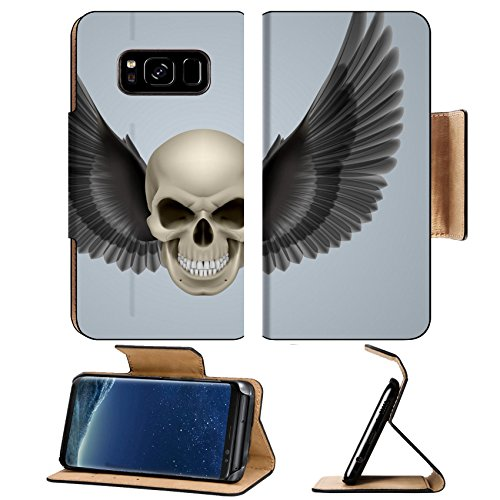 - Liili Premium Samsung Galaxy S8 Flip Pu Leather Wallet Case ID: 28920279 Evil looking ivory coloured skull with two wings