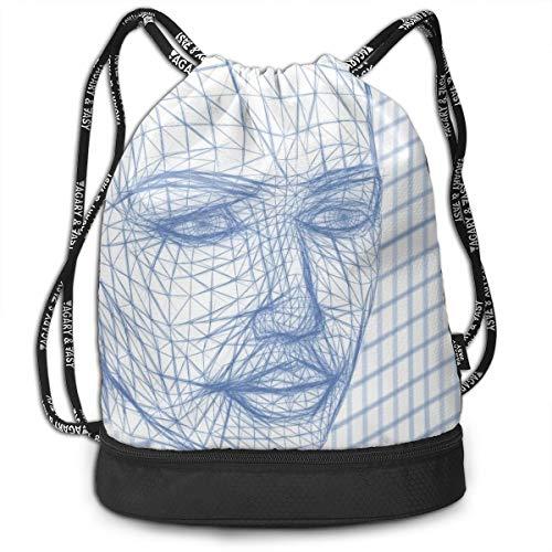 OWZI Head Wireframe Face Line Web Printing Bundle Backpack Drawstring Bag Sport Bag (15.35''× 6.89