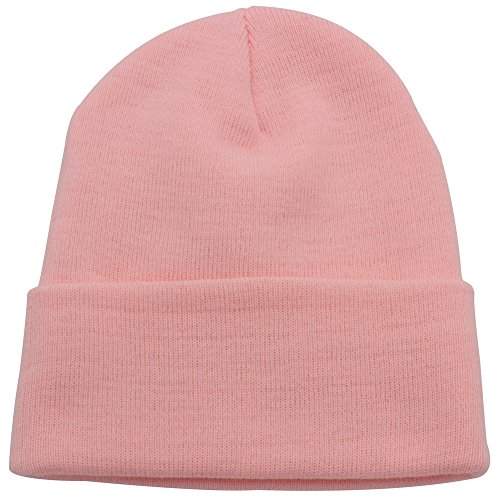 Pink Winter Beanie (Top Level Unisex Cuffed Plain Skull Beanie toboggan Knit Hat/Cap, Pink)